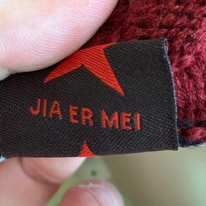 Jia Er Mei Accessories - Reversible Knit Beanie - Grey Black Striped Maroon